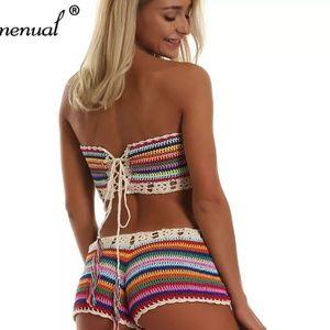 Other - NEW Rainbow Striped  Crochet  BOHO Swimwear